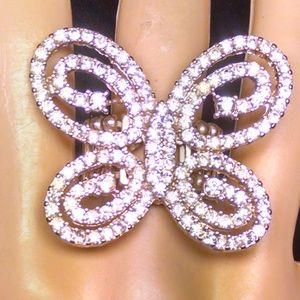 Gorgeous Rare Butterfly Rhinestones Sexy Ring